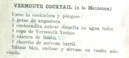 Vermouth cocktail (a la mexicana) - Jose Penedo (1920s)